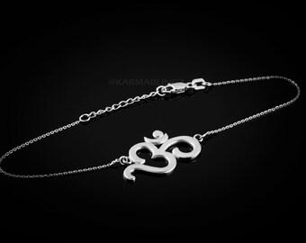 Sterling Silver Om (aum) Mantra Bracelet