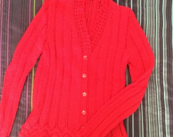 Red knitted lace girls cardigan. Size 7 - 10