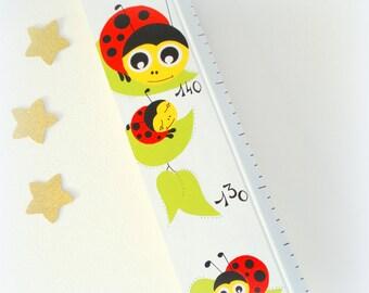 Growth chart for kid Ladybug growth chart ladybug, white wooden growth chart handmade, decoration Ladybug for child or baby room