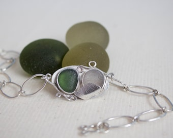 Seaglass Leaf Bracelet - Sterling Silver - Seaglass Bracelet - Vintage Seaglass - Seaham jewelry - Victorian - Eco Jewellery - UK Handmade