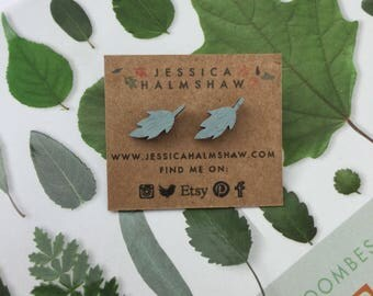 Leaf Stud Earrings - Silver Plated Backs and Wood - Colourful and Cute - Gifts under 10