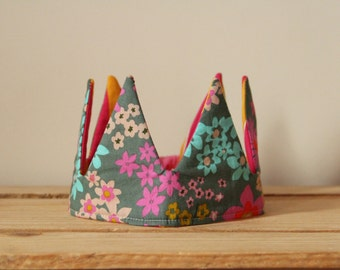 Handmade floral fabric crown. Dress up, birthday crown.