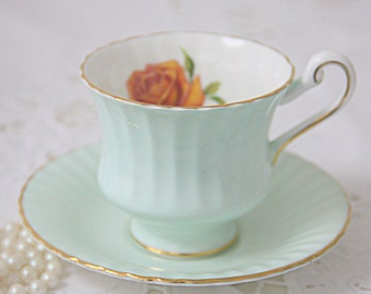 Vintage Paragon Fine Bone China Mint Green Cup and Saucer, Rose Decor, England