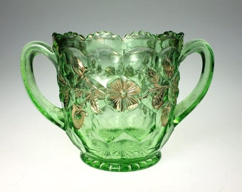 Fenton Honeycomb and Clover Green Glass Spooner Open Sugar Early 20th Century