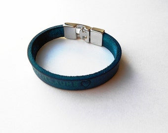 Red or blue leather with a personalized message bracelet