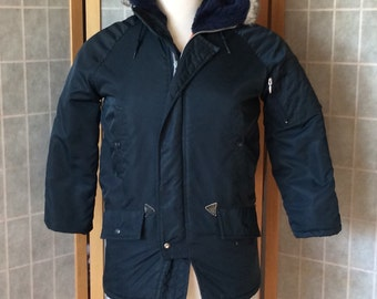 Vintage 1980s Sears the Boys' Shop Winter Coat With Hood Blue W/ Orange Lining Made in Canada Great Condition