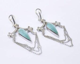 Stephen Webster Blue Cats Eye Chandelier Earrings