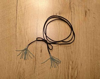 Very long Choker from suede leather strap with handmade tassels with small pearls in silver