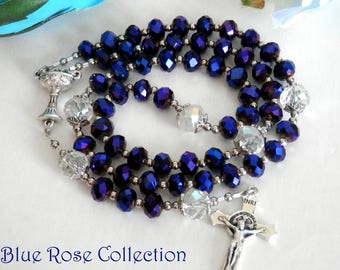 Communion Rosary for Girls, Dark Purple crystal rosary, Catholic gift for First Holy Communion, Girls Catholic rosary, Chalice rosary