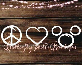 Peace Love Mickey; Peace Love Disney; Disney; Disney Decal; Disney Love; Disney Life; Car Decal; Disney Car Decal