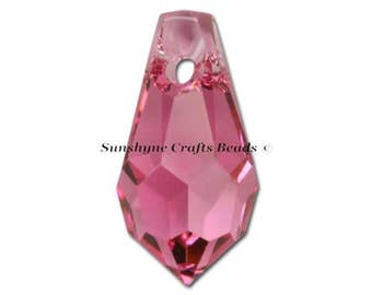 Swarovski Crystal Beads 6000 2pcs ROSE Teardrop Faceted Pendant - Sizes 11mm, 13mm & 15mm available