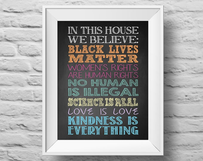 In This House...BLACK LIVES MATTER unframed Typographic poster, inspirational print, anti-bully, wall decor, quote art. (R&R0157)