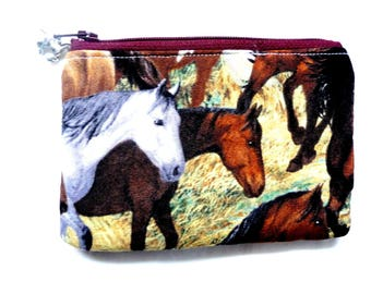 New! coin purse/ pouch made from horse fabric