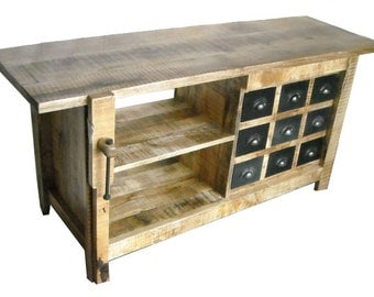 Cabinet Style Carpenter Sideboard Table Reclaimed Wood Rustic Handmade