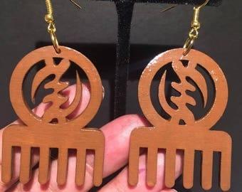 Brown Gye Nyame Comb Earrings