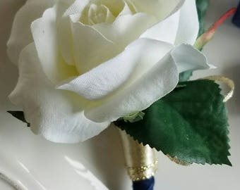 Ivory Wedding Boutonniere with  ribbon color of your choice