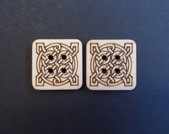 Celtic Square Buttons, 3cm x 3cm x 3mm, packs of 2, 4 or 6.