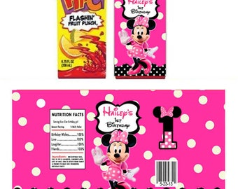 Minnie Mouse pink polka dot personalized Juice box wrapper labels - Printable