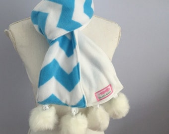 Blue Chevron Fleece Pompom Scarf