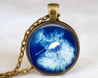 Blue Dandelion Flower - Nature Handmade Pendant Necklace