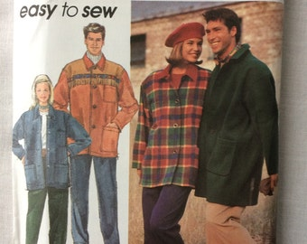 Vintage 1992 UNCUT Simplicity 7996 Misses, Mens or Teen Boys' Size Extra Small, Small, Medium Pull-On Pants & Unlined Coat or Jacket Pattern