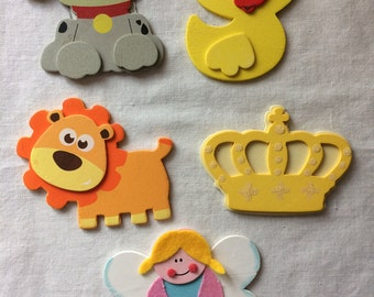 Lot of 5 New Painted Dimensional Wood Shapes - Puppy, Duck, Lion, Crown, Angel - Plaid, Provo Craft - For Crafts, Decor