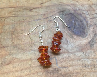 SALE 20% OFF Amber Chip Earrings