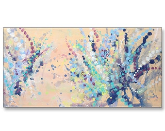 """FREE SHIPPING_Spring Bursts_36x18"""" Original Painting on Stretched Canvas"""