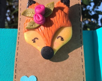 Cute Fimo Woodland Fox Brooch