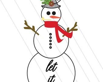 snowman SVG, let it snow SVG, christmas svg, whimsical svg, happy holidays svg, winter svg, snow svg, fancy snowman svg, winter holiday svg