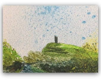 """Landscape painting ORIGINAL Miniature Watercolour Painting """"Rain on the Tor"""" ACEO Glastonbury Tor countryside Home Decor Gift Idea Wall Art"""