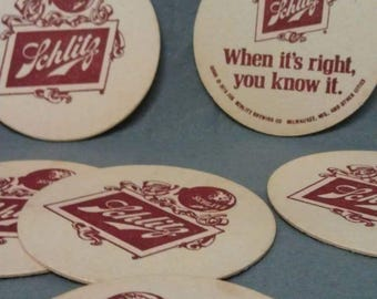 No longer available Schlitz Beer Paperboard Coasters 1976
