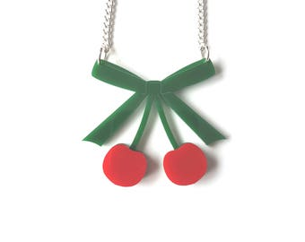 Cherry Necklace - laser cut necklace with bright red cherries on green bow