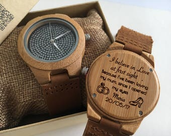 Wooden personalised watch for her engraved with a free message of your choice - bling watch - watch pair - ladies wooden watch