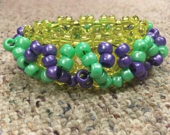 Mardi Gras kandi cuff bracelet
