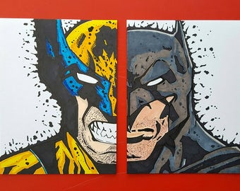 Marvel and DC Wolverine/Batman art Set