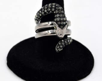 Stainless Steel And Crystal Wrap Snake Statement 2 Tone Black Ring