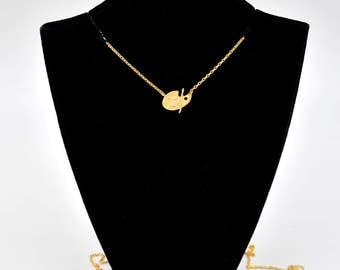 Metallic Dainty Golden Painters Pallete Charm Chain Linked Necklace