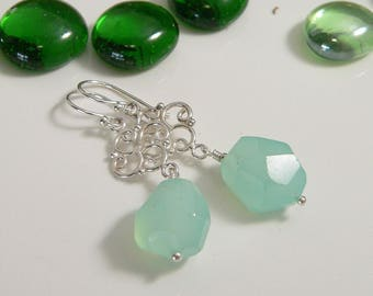 Faceted Chalcedony Stones with Sterling Silver Findings.