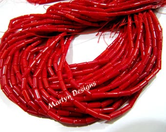 Beautiful Red Coral Pipe Shape Beads , Bamboo Red Coral Long Drilled Beads , approx 2x6mm Size Beads , Length 16 inch , Sold per Strand
