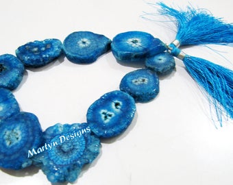 Beautiful Blue Topaz Solar Quartz Beads , Stalactite Slice Beads Size 20 to 30mm ,Sold Per Strand Of 10 inches Long , Natural Drusy Stone