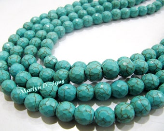 Top and Finest Quality Turquoise Beads/Round faceted Beads Size 9 to 12mm/Sold Per Strand of 14 Inches and 15 inches Long/High Quality Beads