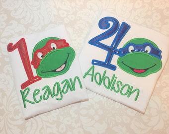 Ninja Turtle Shirt, Birthday Shirt, Girls Ninja Turtle, Boys Ninja Turtle, Leonardo, Turtle Shirt, Turtle Birthday, Ninja Turtle Birthday