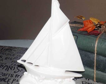 Mid-century (c.1950s) white porcelain sailboat made in Czechoslovakia. Impressed 7572 to base.