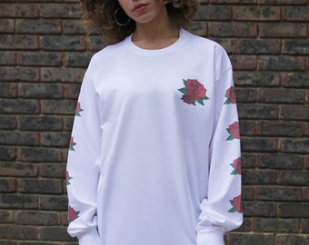 White Baggy Long Sleeved T-shirt Colourful Graphic with Rose Floral Design Vintage Colorfoul 1070