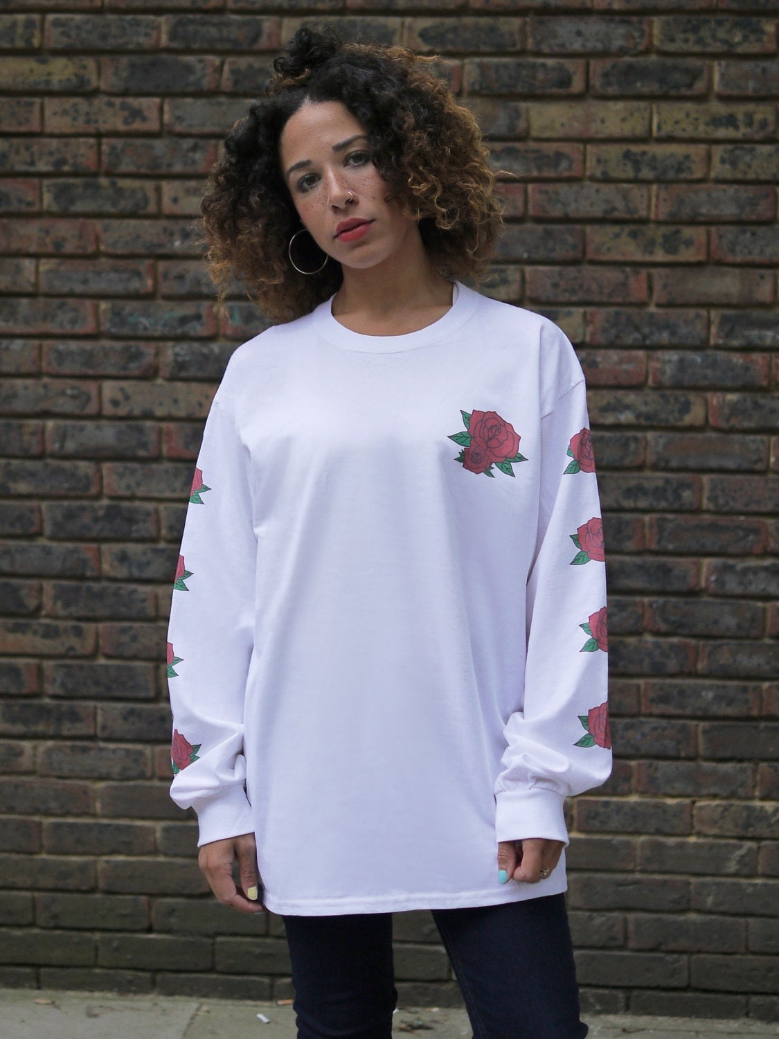 White Baggy Long Sleeved T-shirt Colourful Graphic with Rose