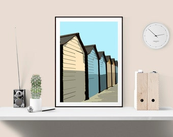 Coastal theme beach hut print, perfect for neutral interiors, Cream and blue seaside art for living room, kids bedroom, kitchen, hallway