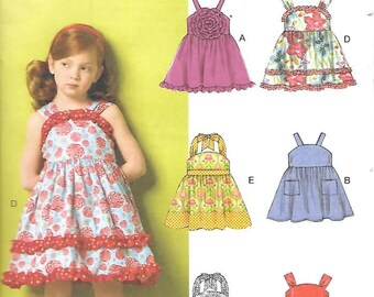 Girls/Childrens Gathered Waist Dresses, Sizes 2 Thru 5, New Butterick Pattern 5914