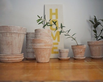 """5.25"""" x 5"""" Farmhouse Planter and Saucer // Rustic Planter // Whitewashed Planter and Saucer"""