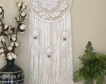 Large White Dream Catcher, White Dream Catcher, Dream Catcher, White Bedroom Decor, Boho Bedroom Decor, Boho Wedding Decor, White Wall Art